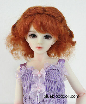 """1/6 or 1/4 bjd 6-7"""" real mohair doll wig carrot red curly braid dollfie yosd"""