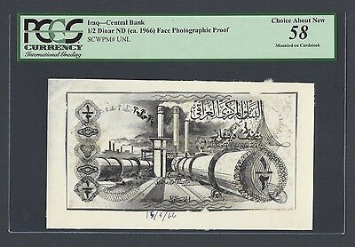 Iraq Unissued Design 1/2 Dinar ND(1966) Face Photographic Proof AUNC