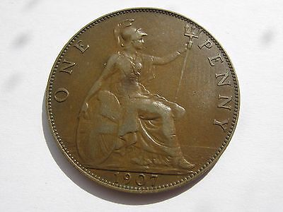 1907 Edward VII penny coin - better than average grade (89)