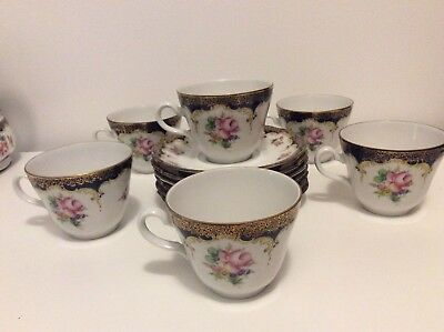 Vintage Bavaria China Winterling (6) Coffee Cups And Saucers
