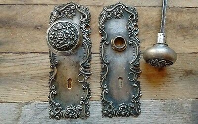 Antique Victorian Door Knob and Large Plate Set Rare- Flower Rose Design Cast