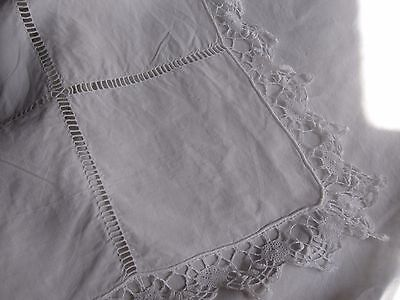 Rare Antique French  LINEN METIS SHEET with beautiful lace & MONO -Organic!