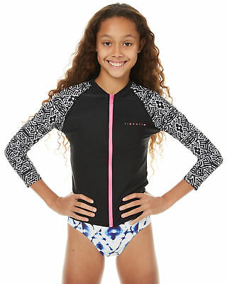 New Rip Curl Girls Kids Girls Ls Zip Through Rash Vest