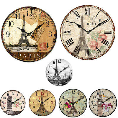 Vintage Rustic Wooden Wall  Clock Antique Shabby Chic Retro  Home/Kitchen  Decor