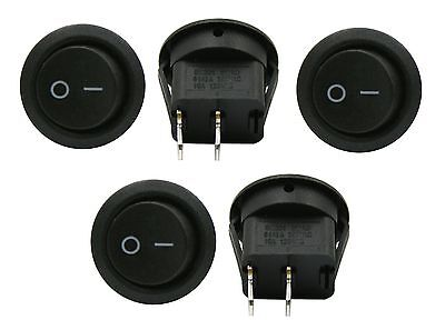 5 Pack 6A 250V 10A 125V Spst On/off 2 Position Mini Round Rocker Switch 12V