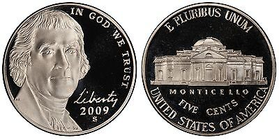 2009-S Proof Jefferson Nickel, Gem Deep Cameo , FREE SHIPPING!