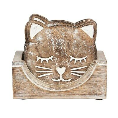 Set of 6 Carved Cat Table Coasters Holder Novelty Vintage Shabby Chic Unusual