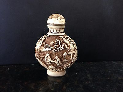 Vintage Chinese Bone Carved Snuff Perfume Opium Bottle Birds