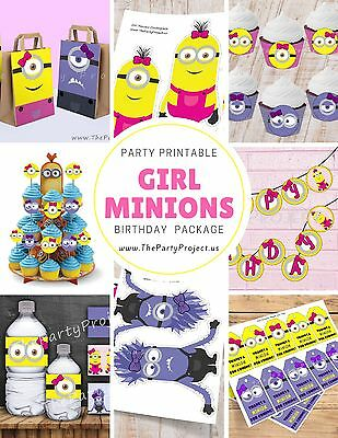 DIY PRINTABLE Girl Minion party package | Despicable me birthday kit!