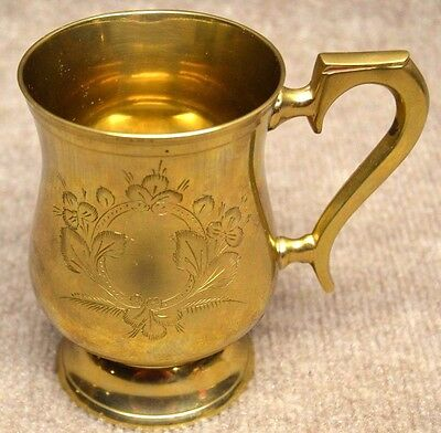 """~~VINTAGE *INDIAN GLASS Brass Gold MUG CUP Stein* Made In INDIA 5"""" Collectible~~"""