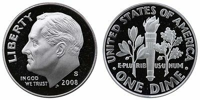 2008-S PROOF 90% SILVER Roosevelt Dime , Gem Cameo , FREE SHIPPING!