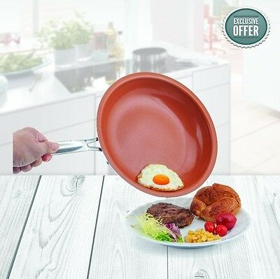 Non-stick Copper Frying Pan with Ceramic Coating and Induction 10 inches