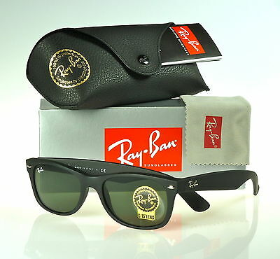 Ray-Ban New Wayfarer Matte Black Rubber l Green G-15XLT RB2132 622 52mm