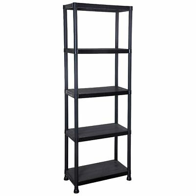 New Black Plastic 5 Tier Shelving Racking Shelves Storage Shed Rack Shelf Unit