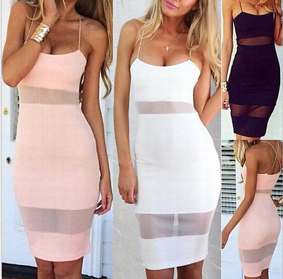 UK Womens Summer Lace Bodycon Dress Ladies See Through Slip Dresses Size 6-14