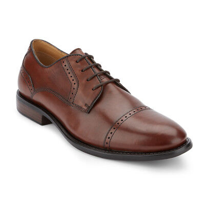 Dockers Men's Hawley Genuine Leather Cap Toe Lace-up Oxford Shoe Chili