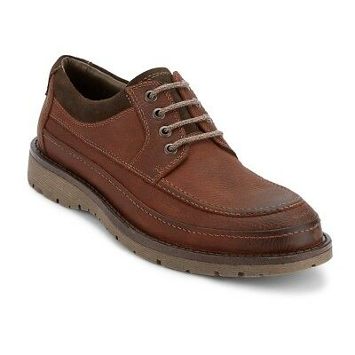 Dockers Men's Eastview Genuine Leather Lace-up Rubber Sole Oxford Shoe Red Brown