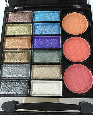 New 12 Colour Shimmer Eyeshadow/Blush Compact Palette With Applicator #4
