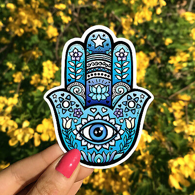 Vinyl Sticker - Hamsa - Hand of Fatima - Boho Yeti Sticker, Hippie Car Sticker