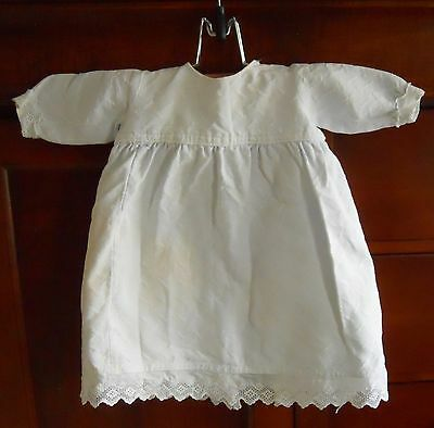 Antique Vintage Handmade Christening Baptismal Gown Dress Ivory Eyelet Trim Doll