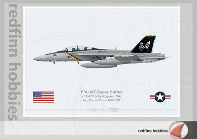 Warhead Illustrated F/A-18F Super Hornet VFA-103 Jolly Rogers CAG Aircraft Print