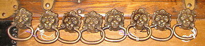 "8 Antique 1 1/2"" Lion's Head Cast Solid Brass Drawer Pulls"