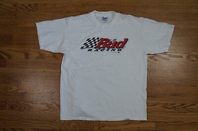 Rare Vintage Bud Racing 1996 Budweiser Beer Racing Spell Out Tee Shirt 90s XL