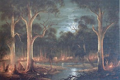 John Dollery / Night on the Diggings / Gold MIning / Miners / Australian Art.