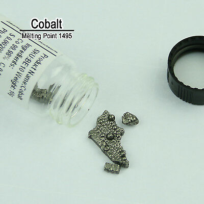 10 Grams Co 99.99% Pure Cobale Metal Metalloid Element 27 in Glass Bottles