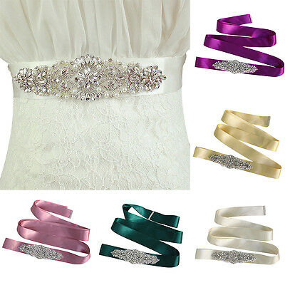 Crystal Elastic Waist Belt Bridal Sash Gowns Wedding Bridemaid Dress Rhinestone