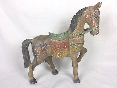 Antique Carved Wood Horse Hand Painted All Original Handmade Vintage