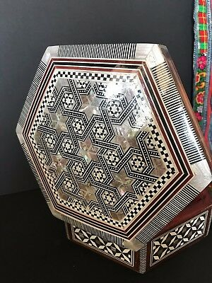 Old Middle Eastern Six-Sided Inlaid Box …beautiful display piece