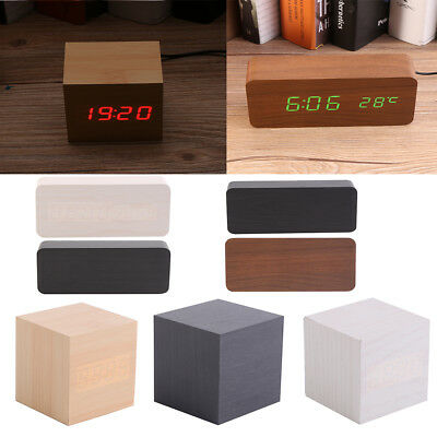 Electronic Digital Wooden LED USB Table Alarm Clock Sounds Control Temperature S