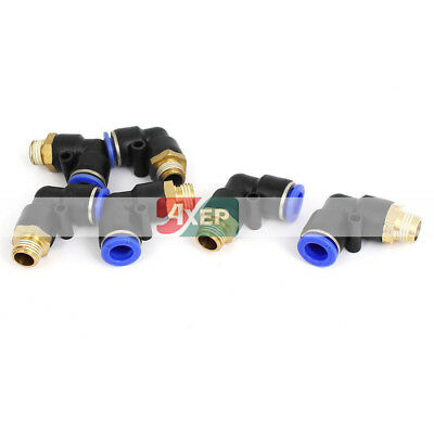 6Pcs 10mm Tube 1/4BSP Male Thread Elbow Union Quick Connect Fittings Coupler