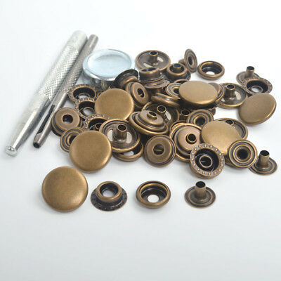 17mm 15 Sets Antique Brass Metal Snap Fasteners Press Studs Kit Craft Buttons AU