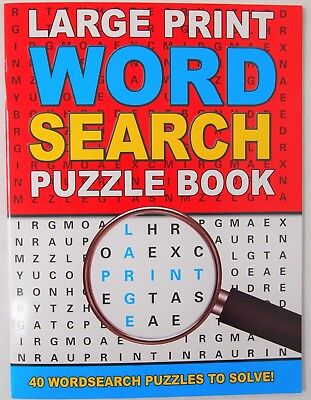 A4 Red Large Print Word Search Puzzle Book - Fun Travel Solve Wordsearch Games