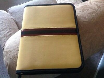 Franklin Covey Zippered Organizer Planner Nylon Mustard Yellow Classic NICE!