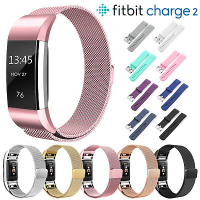Stainless Steel Milanese/Silicone Replace Band Strap For Fitbit Charge 2