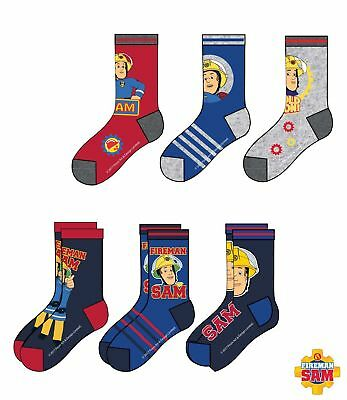 official fireman sam pack of 3 socks 6-2 shoe size  free 2nd class post