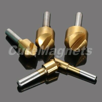 5x Titanium Coated 1 Flue Chamfering End Mill Cutter Countersink Hole Drill Bits