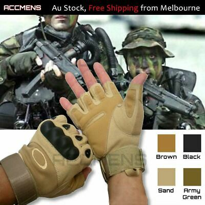 Military Tactical Real Leather Gloves Half Finger Outdoor Army Combat Fingerless