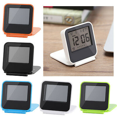 Mini Foldable LCD Digital Travel Desk Alarm Clock Snooze Date Day Thermometer SS