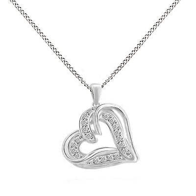 0.10 Ctw Round Natural Diamond Mom Heart Pendant 14k Gold Over Sterling Silver