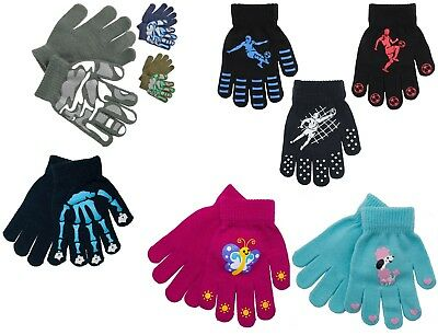 Kids Magic Gloves 3 Pairs Football Skull Camo Heart Boys Girls Winter Gloves