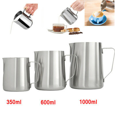 Kitchen Expresso Stainless Steel Coffee Milk Latte Jug Frothing 350ml-1000ml