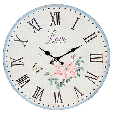 CLAYRE & EEF Vintage Wall clock Nostalgic Country house style Roses LOVE Shabby