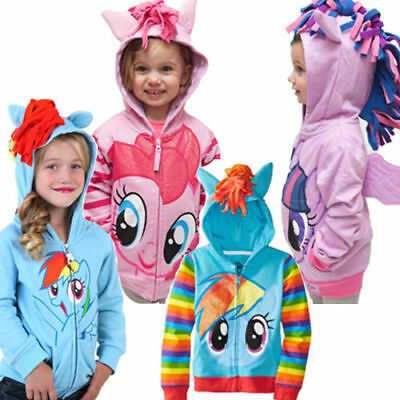 Baby Girls My Little Pony Hoodie Zip Up Jacket Jumper Jacket Wing Size 3-8 Years
