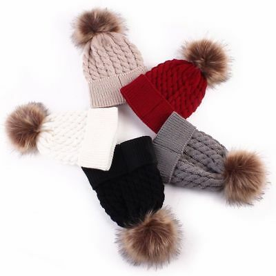 Newborn Baby Boys Girls Winter Warm Faux Fur Pom Bobble Knit Beanie Hat