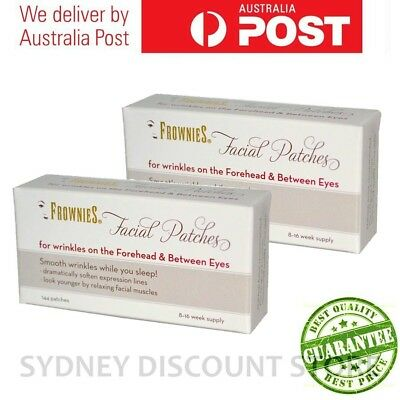 FROWNIES Wrinkle Remover Facial Pads Forehead + Between Eyes 144 patches x2boxes