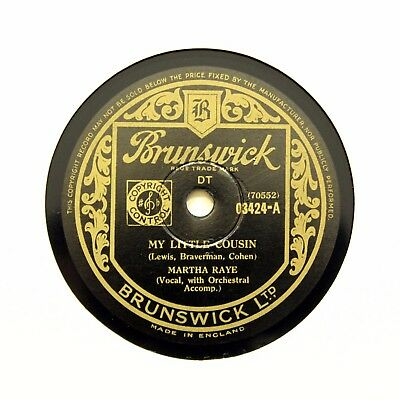 "MARTHA RAYE ""My Little Cousin / Oh! The Pity Of It All"" (EE+) BRUNSWICK [78 RPM]"